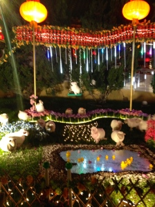 Very blurry swinging sheep at the Hsi Lai Buddhist Temple celebrating Chinese New Year.